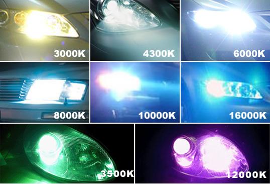 kleurtemperaturen van de xenon lampen